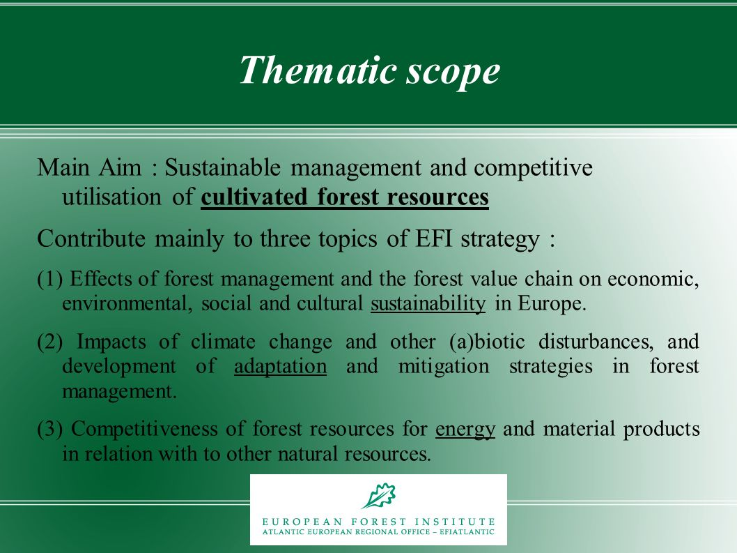 Thematic scope Main Aim : Sustainable management and competitive utilisation of cultivated forest resources Contribute mainly to three topics of EFI s