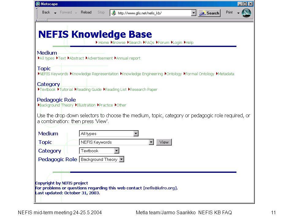 NEFIS mid-term meeting 24-25.5.2004Metla team/Jarmo Saarikko NEFIS KB FAQ11 NEFIS KB 2003