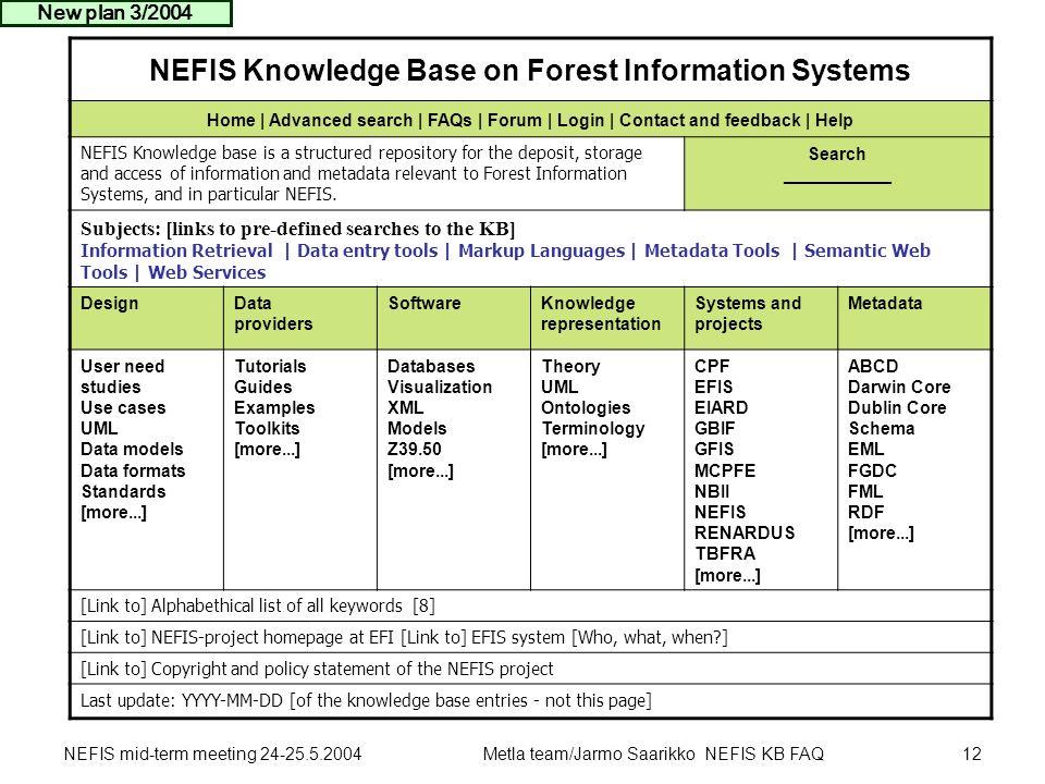 NEFIS mid-term meeting 24-25.5.2004Metla team/Jarmo Saarikko NEFIS KB FAQ12 NEFIS Knowledge Base on Forest Information Systems Home | Advanced search