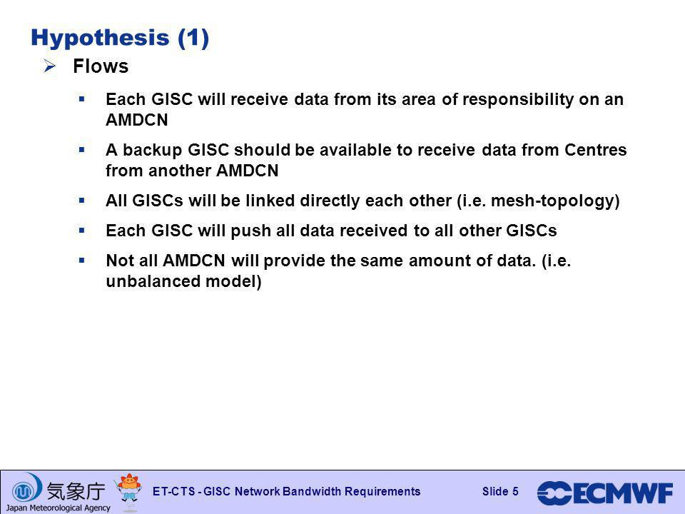 Slide 5 ET-CTS - GISC Network Bandwidth RequirementsSlide 5 Hypothesis (1) Flows Each GISC will receive data from its area of responsibility on an AMD