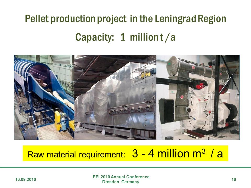 Pellet production project in the Leningrad Region Capacity: 1 million t /a 16.09.2010 EFI 2010 Annual Conference Dresden, Germany 16 Raw material requirement: 3 - 4 million m 3 / a