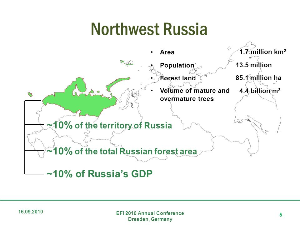 Northwest Russia 16.09.2010 EFI 2010 Annual Conference Dresden, Germany 5 ~10% of the territory of Russia ~10% of the total Russian forest area ~10% of Russias GDP Area Population Forest land Volume of mature and overmature trees 1.7 million km 2 13.5 million 85.1 million ha 4.4 billion m 3