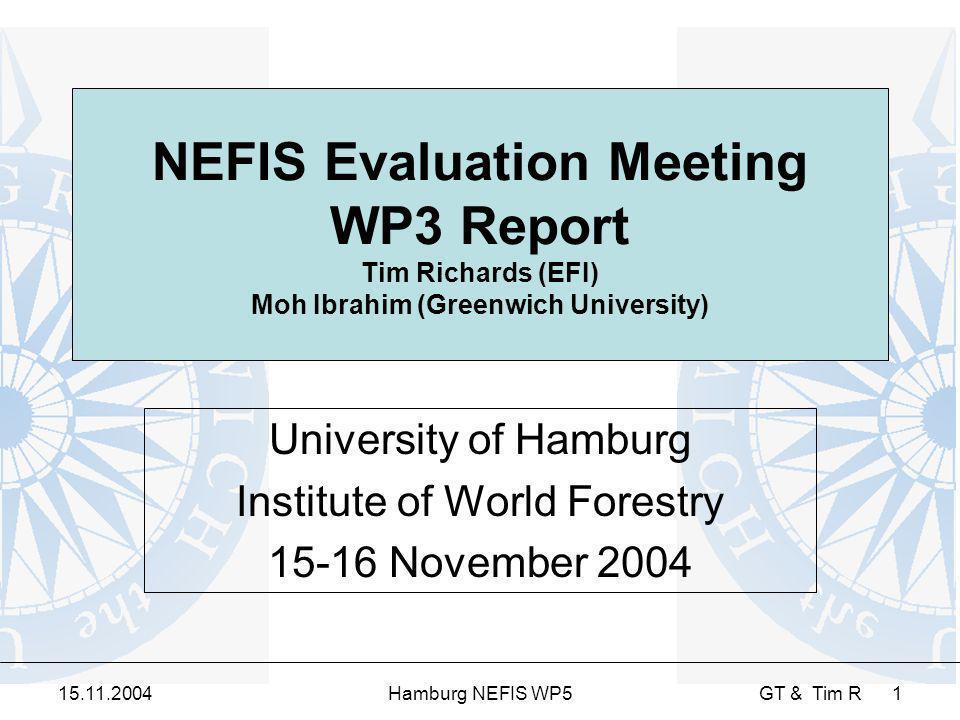 15.11.2004Hamburg NEFIS WP5 GT & Tim R 1 NEFIS Evaluation Meeting WP3 Report Tim Richards (EFI) Moh Ibrahim (Greenwich University) University of Hambu