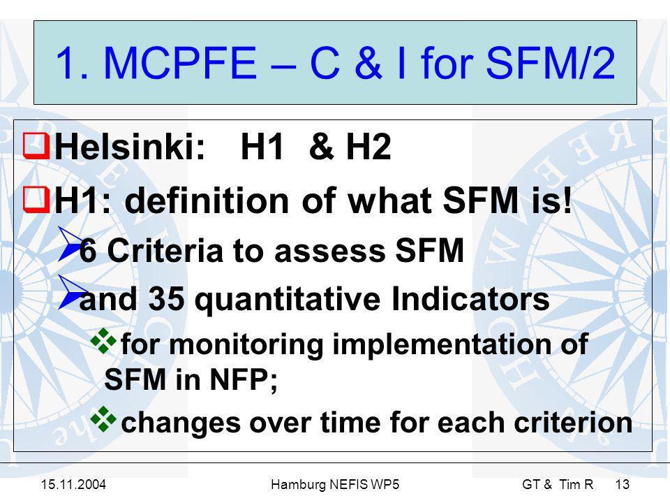 15.11.2004Hamburg NEFIS WP5 GT & Tim R 13 1. MCPFE – C & I for SFM/2 Helsinki: H1 & H2 H1: definition of what SFM is! 6 Criteria to assess SFM and 35