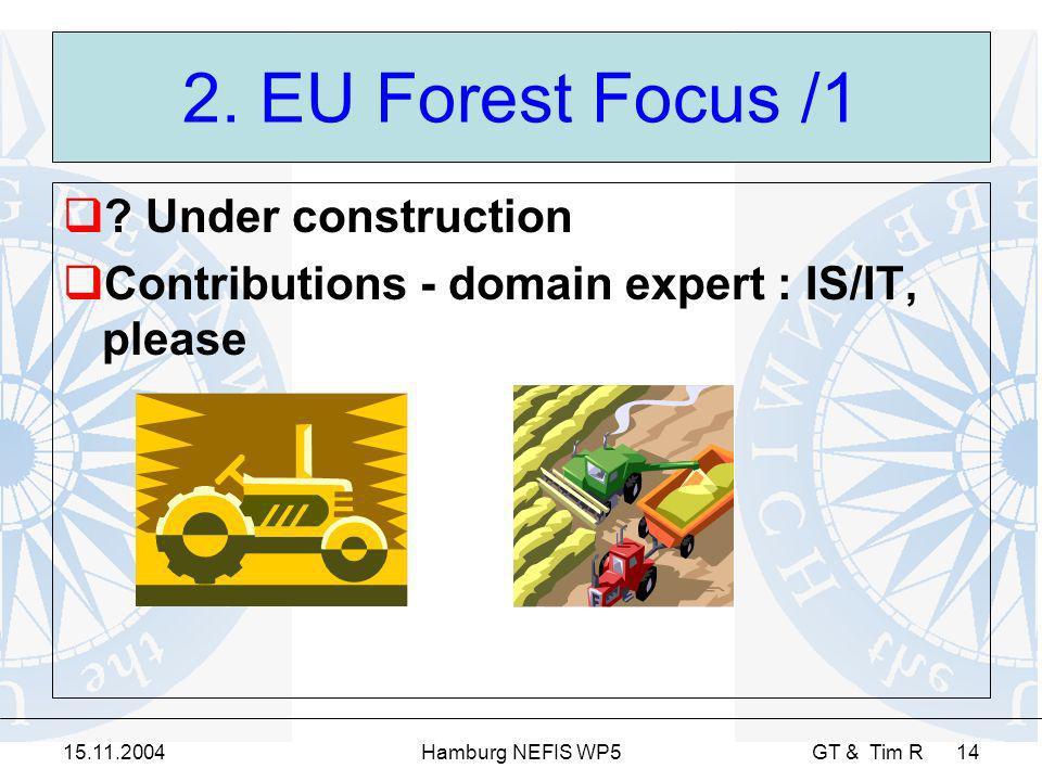 15.11.2004Hamburg NEFIS WP5 GT & Tim R 14 2. EU Forest Focus /1 ? Under construction Contributions - domain expert : IS/IT, please