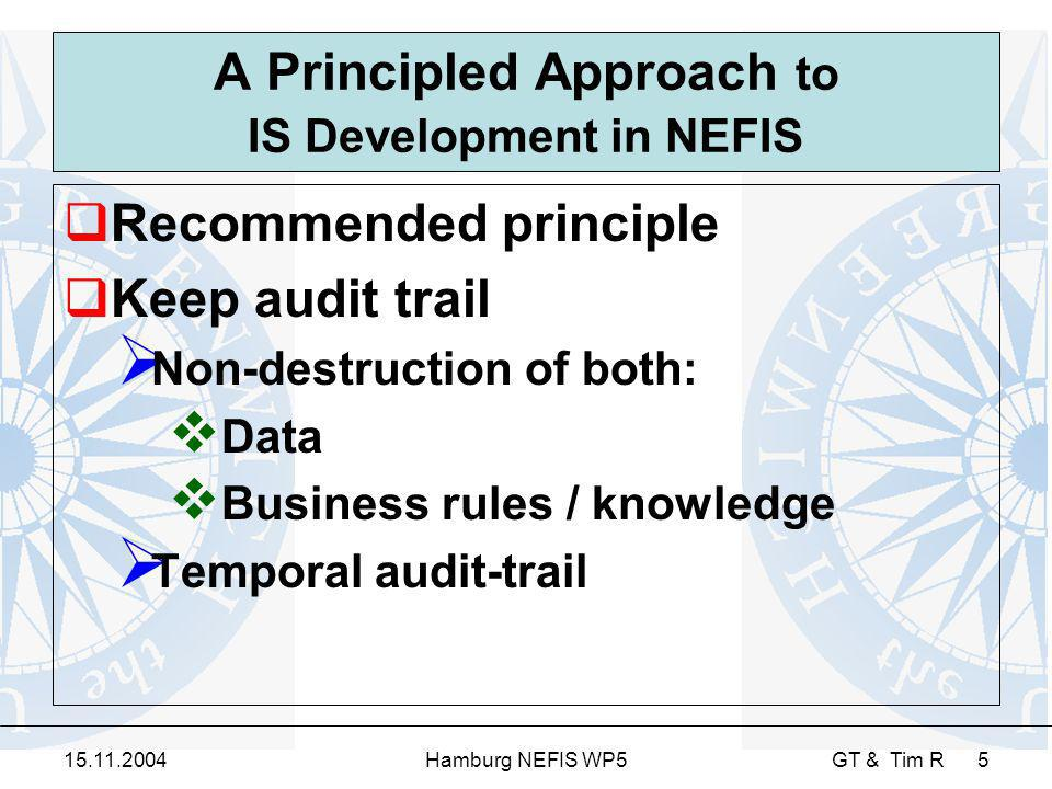 15.11.2004Hamburg NEFIS WP5 GT & Tim R 5 A Principled Approach to IS Development in NEFIS Recommended principle Keep audit trail Non-destruction of both: Data Business rules / knowledge Temporal audit-trail