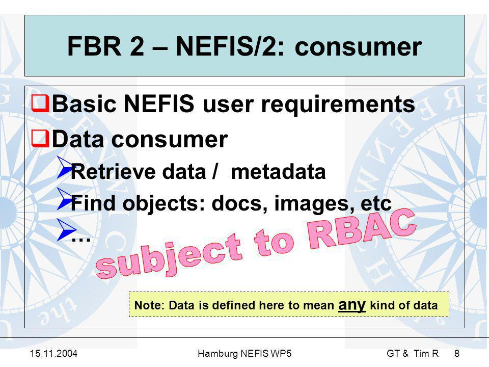15.11.2004Hamburg NEFIS WP5 GT & Tim R 8 FBR 2 – NEFIS/2: consumer Basic NEFIS user requirements Data consumer Retrieve data / metadata Find objects: docs, images, etc … Note: Data is defined here to mean any kind of data