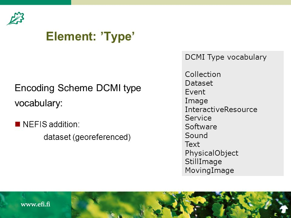 Element: Type Encoding Scheme DCMI type vocabulary: NEFIS addition: dataset (georeferenced) DCMI Type vocabulary Collection Dataset Event Image InteractiveResource Service Software Sound Text PhysicalObject StillImage MovingImage