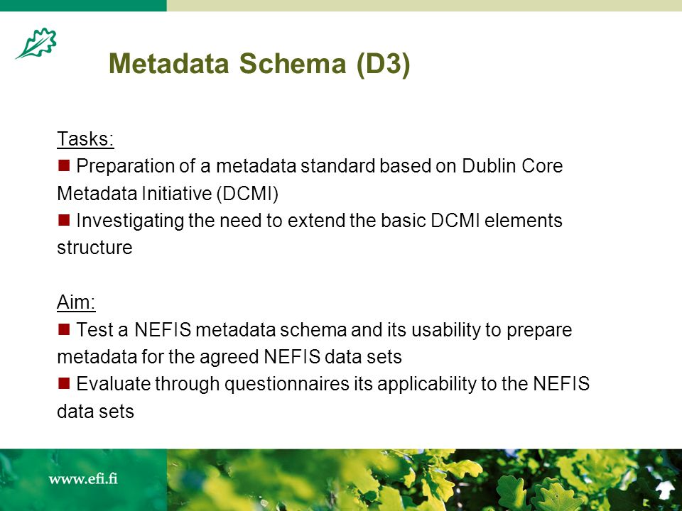 Metadata Schema (D3) Tasks: Preparation of a metadata standard based on Dublin Core Metadata Initiative (DCMI) Investigating the need to extend the basic DCMI elements structure Aim: Test a NEFIS metadata schema and its usability to prepare metadata for the agreed NEFIS data sets Evaluate through questionnaires its applicability to the NEFIS data sets