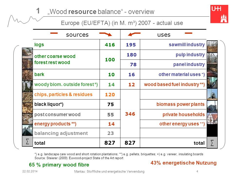 Mantau: Stoffliche und energetische Verwendung sources uses logs 416 195 sawmill industry other coarse wood forest rest wood 100 180 pulp industry 78 panel industry bark 10 16 other material uses + ) woody biom.