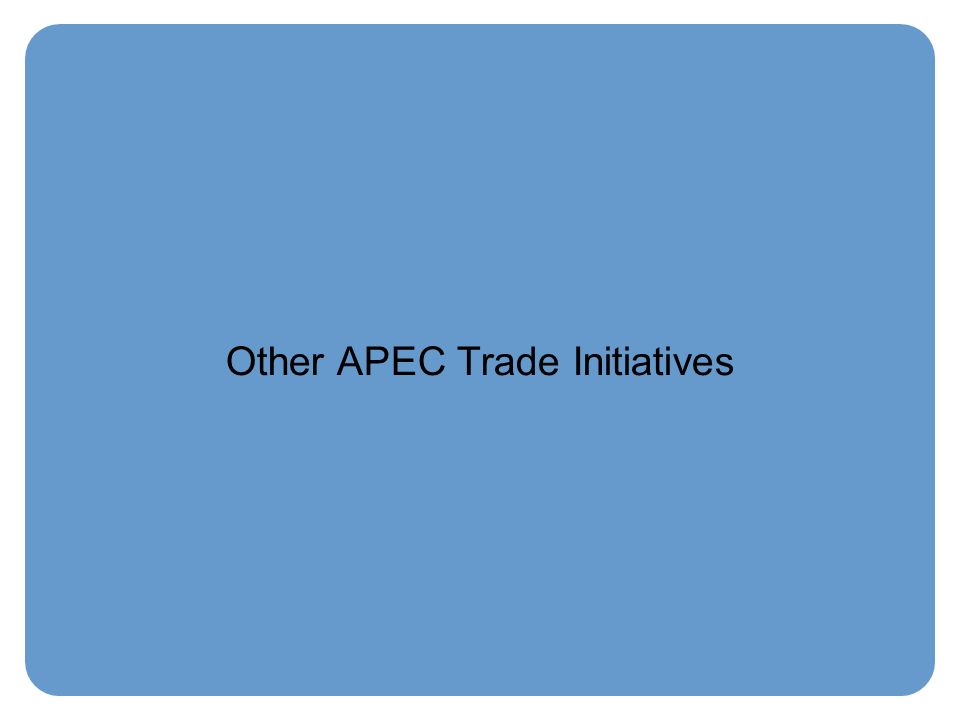 Other APEC Trade Initiatives