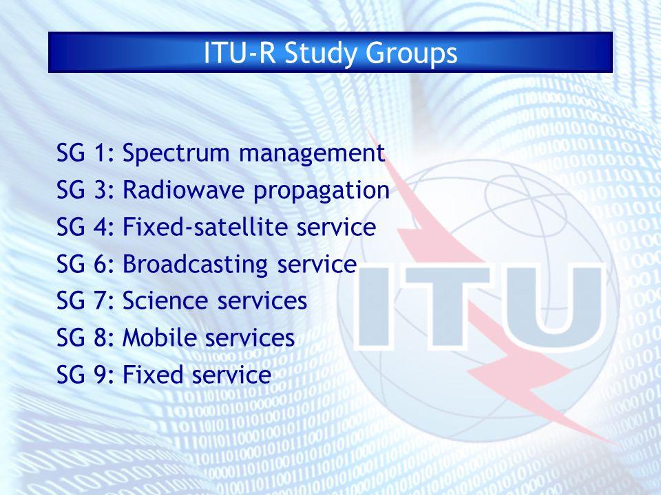 ITU-R Study Groups SG 1:Spectrum management SG 3:Radiowave propagation SG 4:Fixed-satellite service SG 6:Broadcasting service SG 7:Science services SG