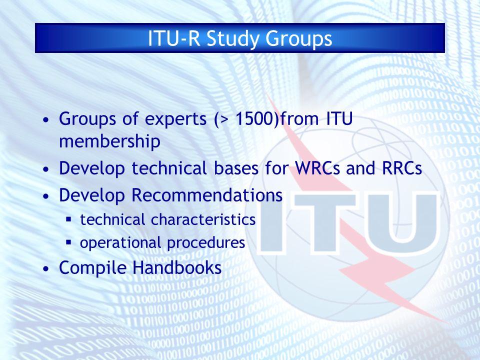 ITU-R Study Groups SG 1:Spectrum management SG 3:Radiowave propagation SG 4:Fixed-satellite service SG 6:Broadcasting service SG 7:Science services SG 8:Mobile services SG 9:Fixed service