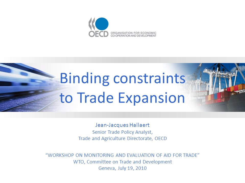 Binding constraints to Trade Expansion Jean-Jacques Hallaert Senior Trade Policy Analyst, Trade and Agriculture Directorate, OECD WORKSHOP ON MONITORING AND EVALUATION OF AID FOR TRADE WTO, Committee on Trade and Development Geneva, July 19, 2010