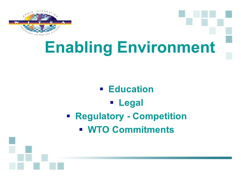 Education Legal Regulatory - Competition WTO Commitments Enabling Environment