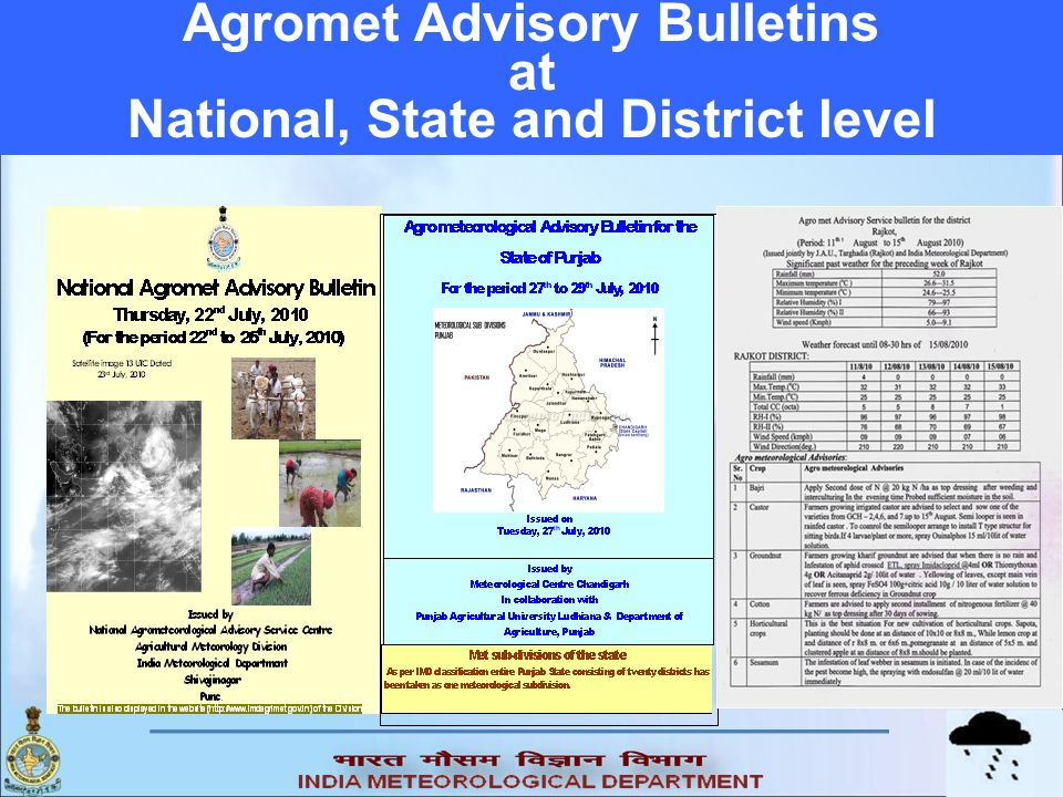 Agromet Advisory Bulletins at National, State and District level