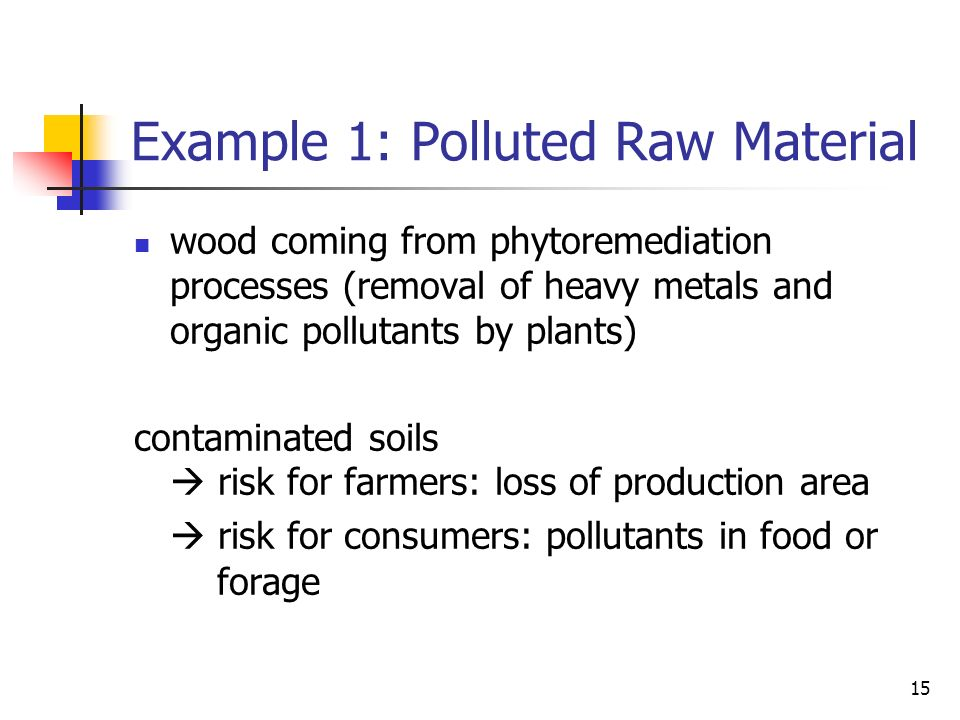 15 Example 1: Polluted Raw Material wood coming from phytoremediation processes (removal of heavy metals and organic pollutants by plants) contaminated soils risk for farmers: loss of production area risk for consumers: pollutants in food or forage