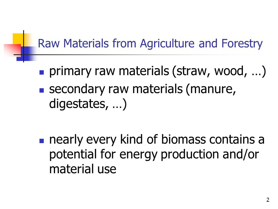 3 Differences between Organic Materials different composition and concentration of ingredients wide spectrum of physical and chemical characteristics process flows have to adapt