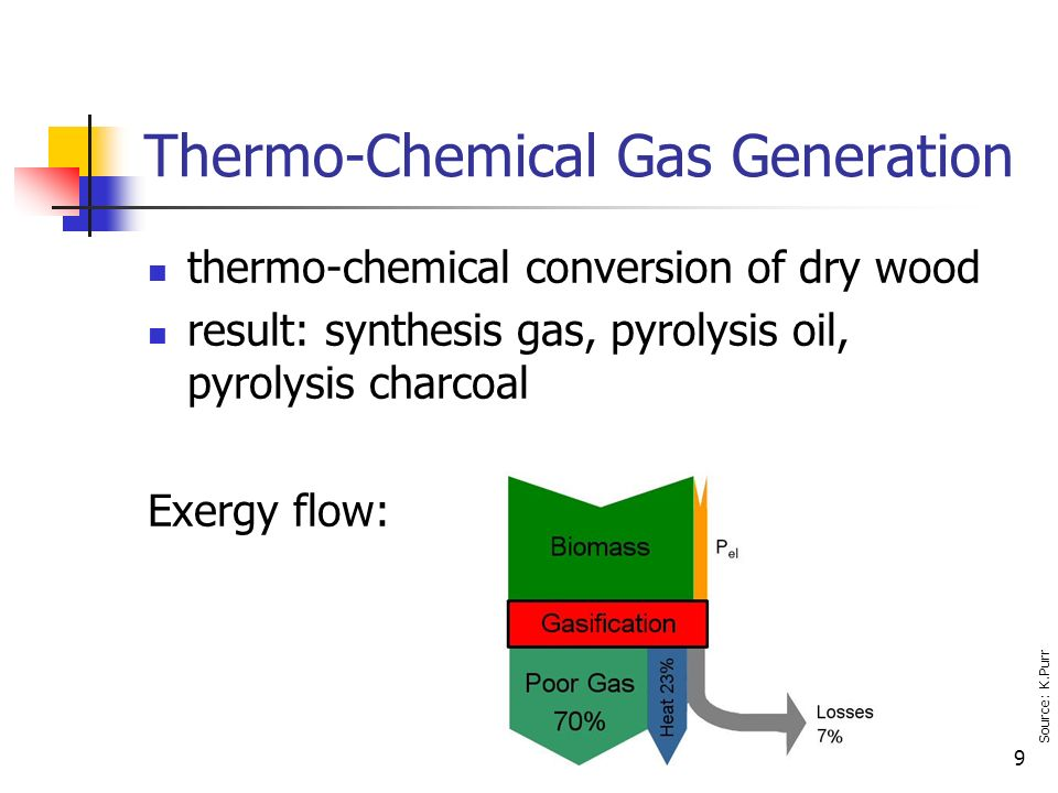 9 Thermo-Chemical Gas Generation thermo-chemical conversion of dry wood result: synthesis gas, pyrolysis oil, pyrolysis charcoal Exergy flow: Source: K.Purr