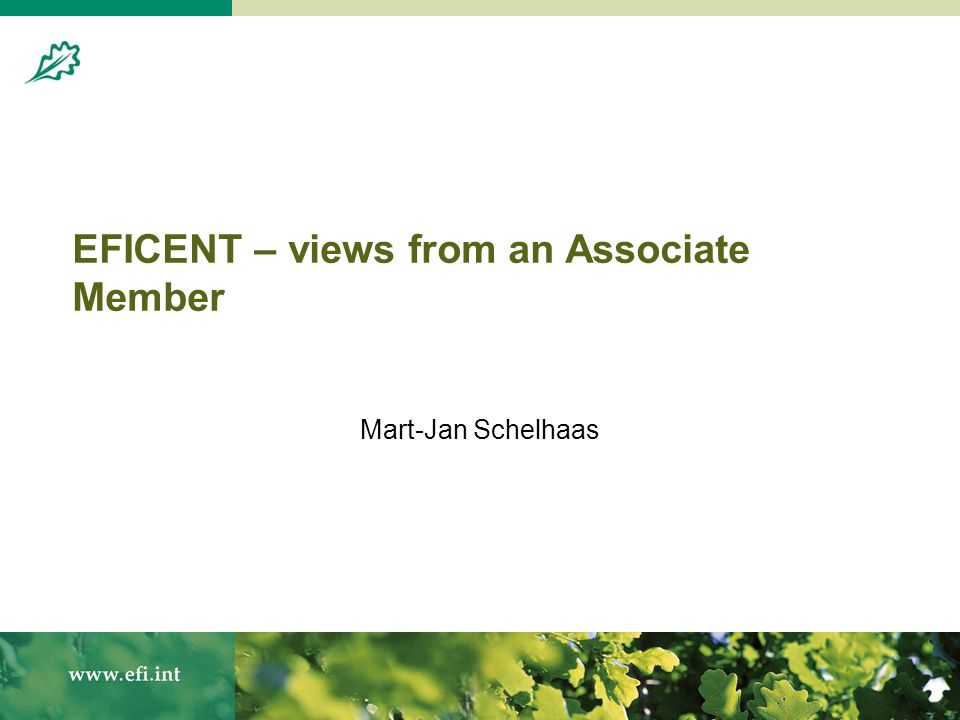 EFICENT – views from an Associate Member Mart-Jan Schelhaas