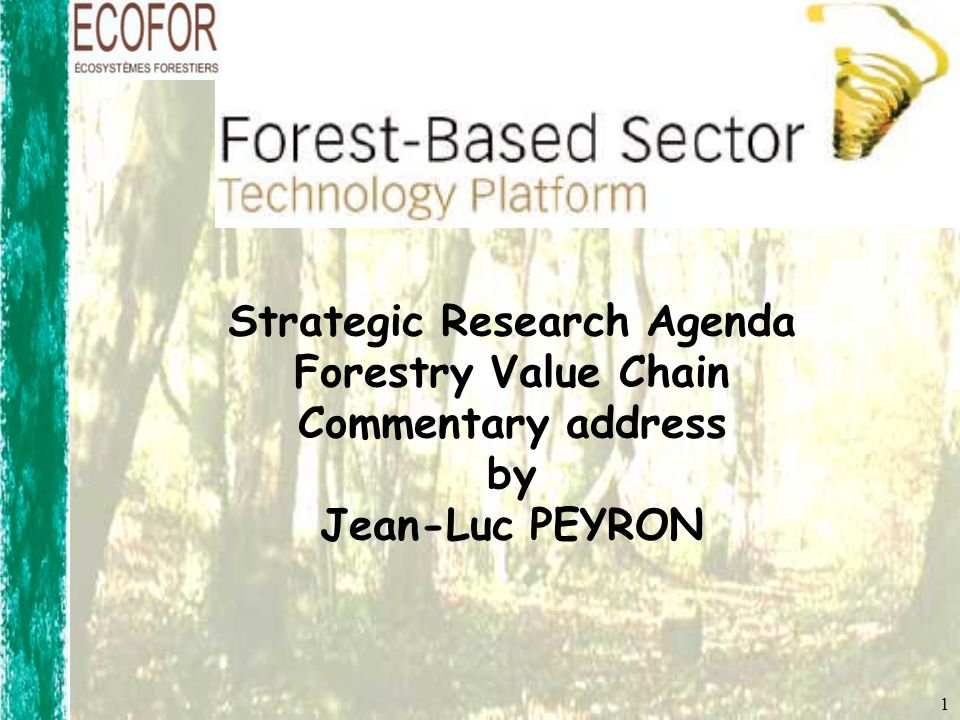 Strategic Research Agenda Forestry Value Chain Commentary address by Jean-Luc PEYRON 1