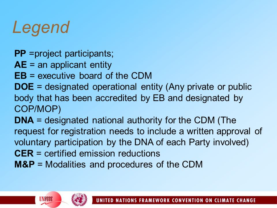 Legend PP =project participants; AE = an applicant entity EB = executive board of the CDM DOE = designated operational entity (Any private or public b