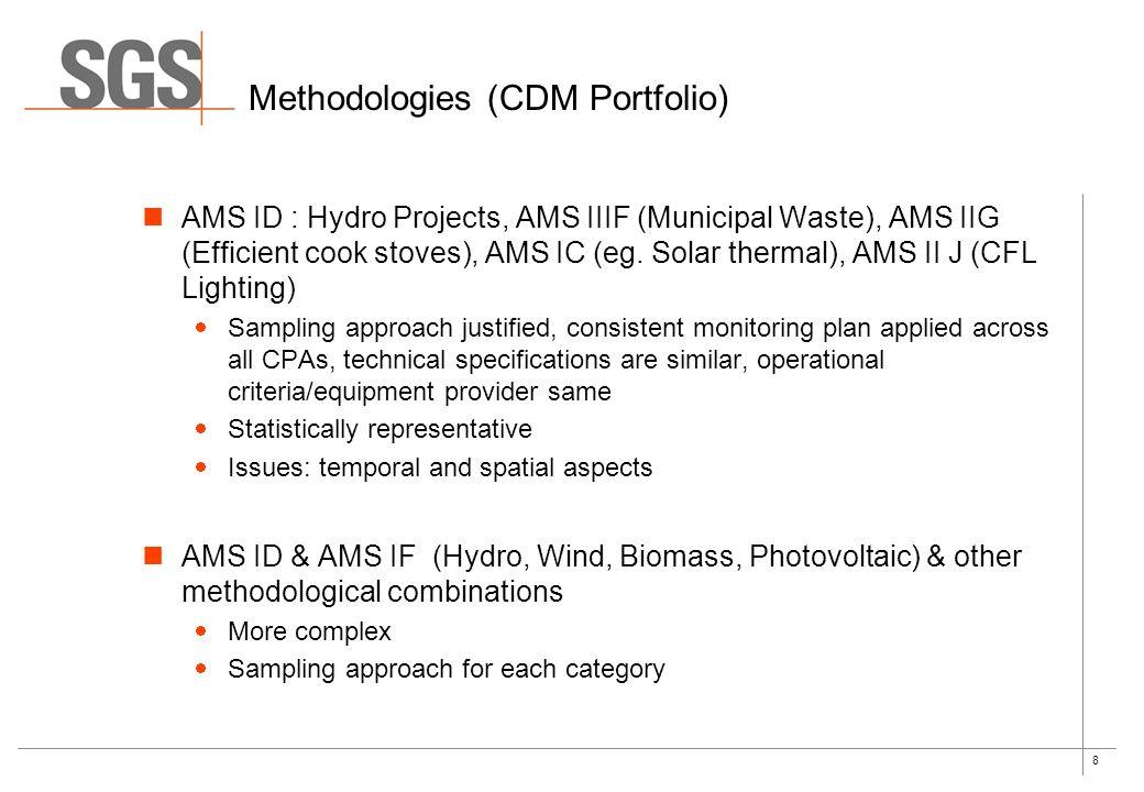 8 Methodologies (CDM Portfolio) AMS ID : Hydro Projects, AMS IIIF (Municipal Waste), AMS IIG (Efficient cook stoves), AMS IC (eg. Solar thermal), AMS