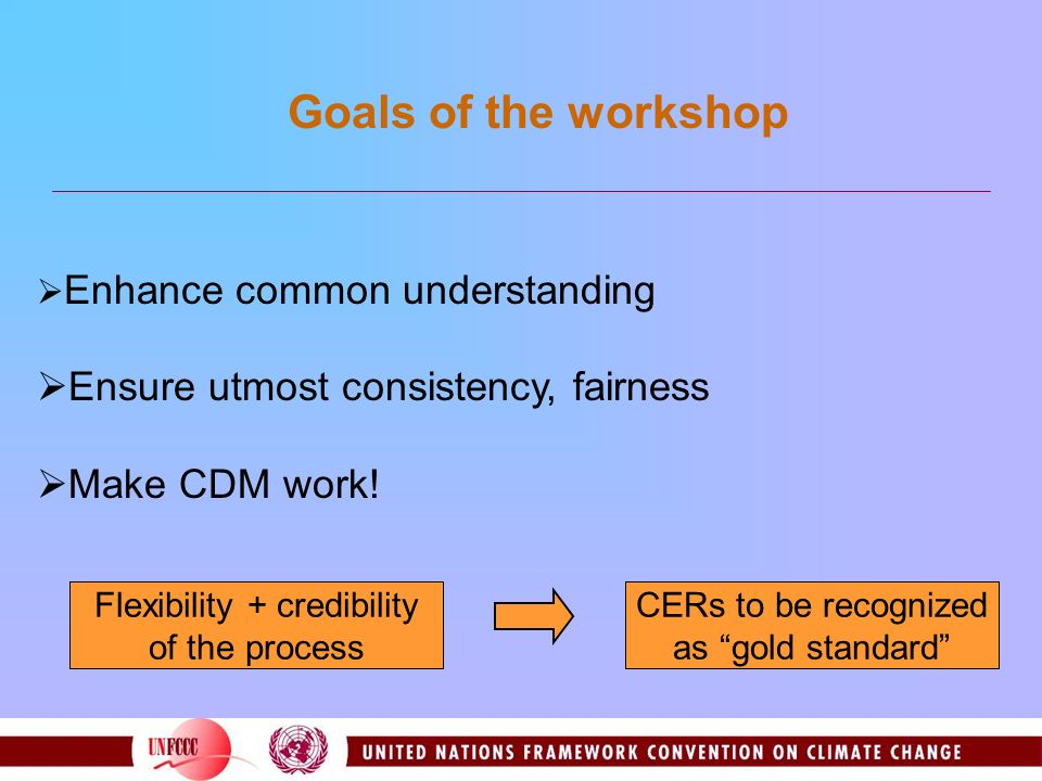 Enhance common understanding Ensure utmost consistency, fairness Make CDM work! Goals of the workshop Flexibility + credibility of the process CERs to