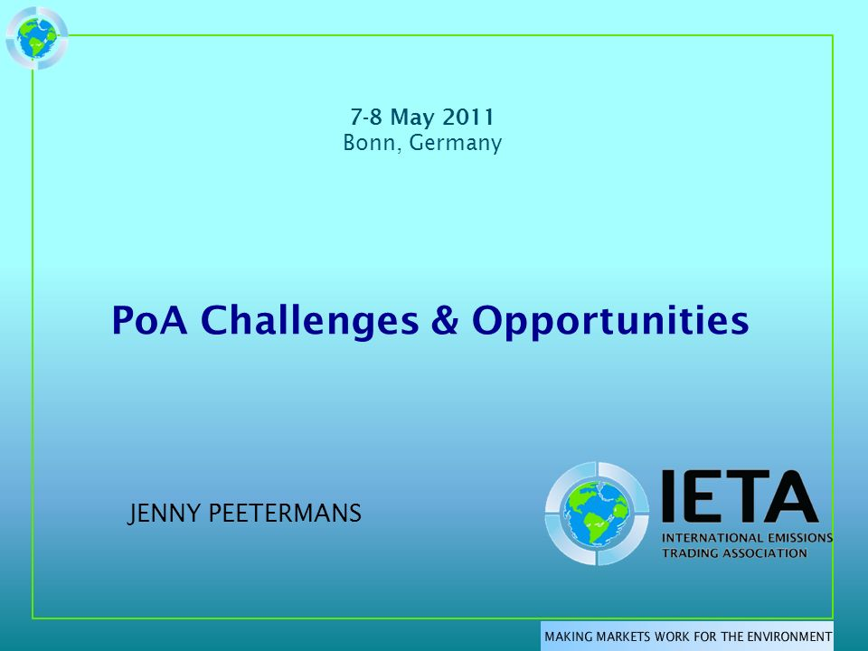Agenda Main Stakeholders Challenges – Procedure - Timeline – Government – Region Opportunities – Methodologies – International PoA Solutions – Public and Private Sector – Funding and Financing – Others