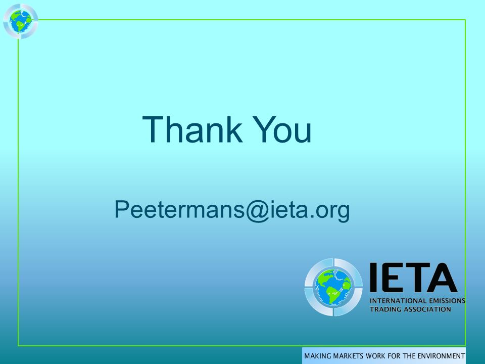 Thank You Peetermans@ieta.org