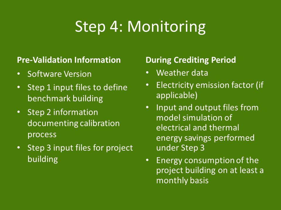Step 4: Monitoring Pre-Validation Information Software Version Step 1 input files to define benchmark building Step 2 information documenting calibrat