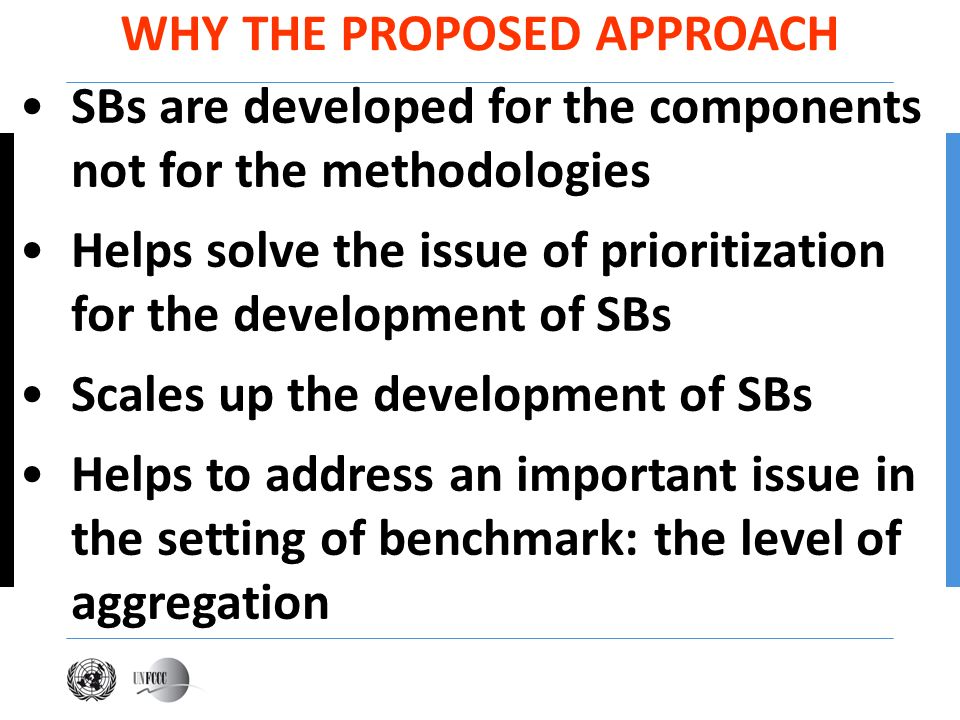 SBs are developed for the components not for the methodologies Helps solve the issue of prioritization for the development of SBs Scales up the develo