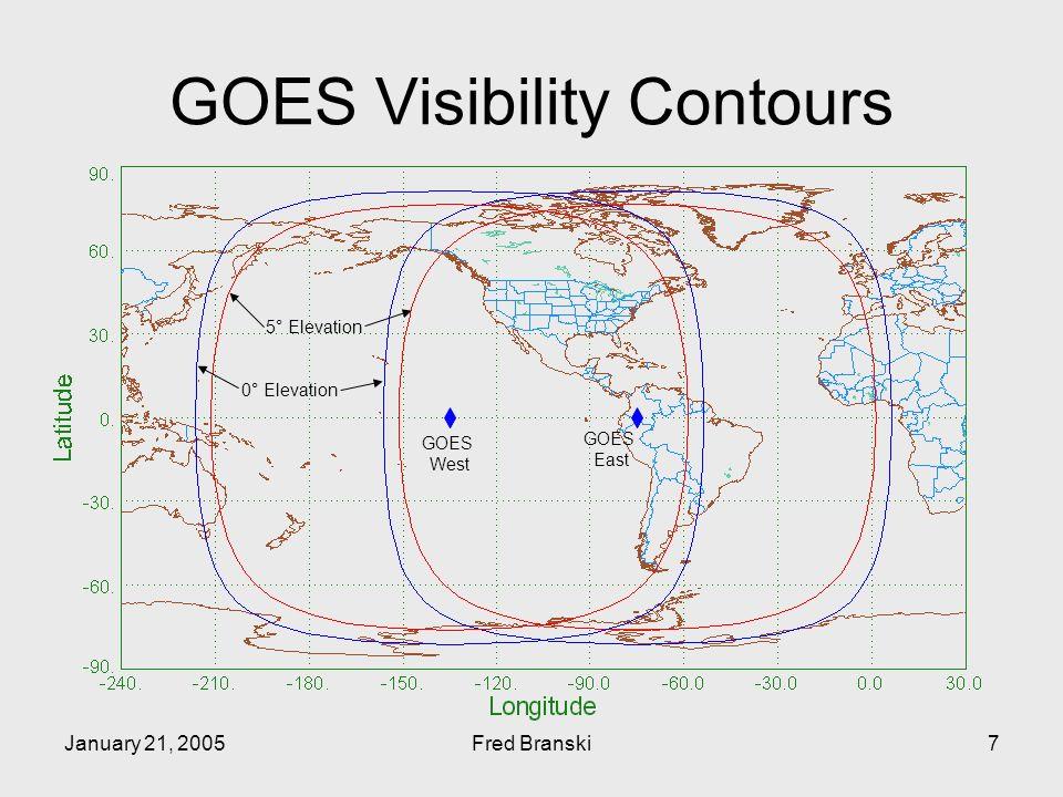 January 21, 2005Fred Branski7 GOES Visibility Contours GOES West GOES East 5° Elevation 0° Elevation