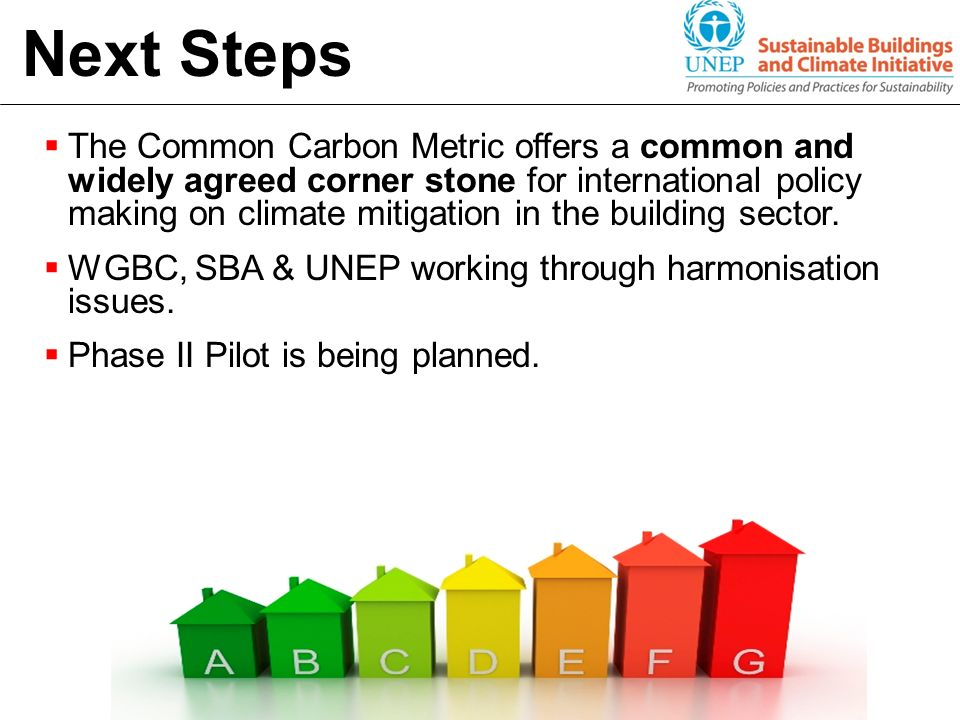 Next Steps The Common Carbon Metric offers a common and widely agreed corner stone for international policy making on climate mitigation in the buildi