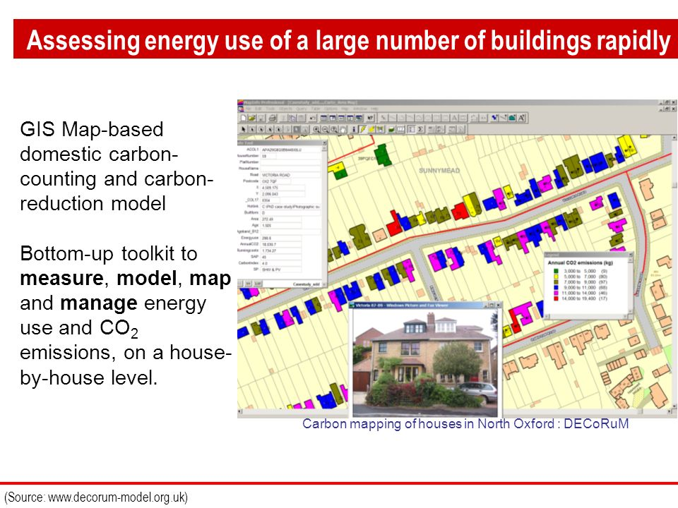 GIS Map-based domestic carbon- counting and carbon- reduction model Bottom-up toolkit to measure, model, map and manage energy use and CO 2 emissions, on a house- by-house level.