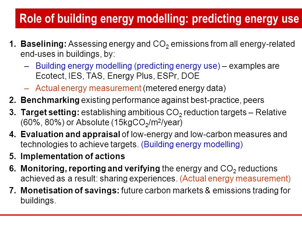 1.Baselining: Assessing energy and CO 2 emissions from all energy-related end-uses in buildings, by: –Building energy modelling (predicting energy use) – examples are Ecotect, IES, TAS, Energy Plus, ESPr, DOE –Actual energy measurement (metered energy data) 2.Benchmarking existing performance against best-practice, peers 3.Target setting: establishing ambitious CO 2 reduction targets – Relative (60%, 80%) or Absolute (15kgCO 2 /m 2 /year) 4.Evaluation and appraisal of low-energy and low-carbon measures and technologies to achieve targets.