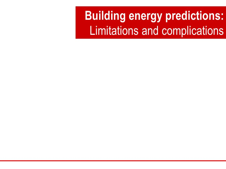 Building energy predictions: Limitations and complications