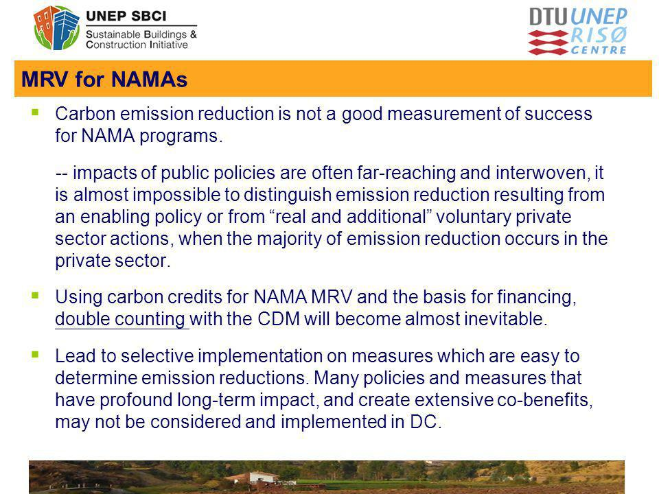 Insert Footer: View menu, Header and Footer. Apply to All Carbon emission reduction is not a good measurement of success for NAMA programs. -- impacts