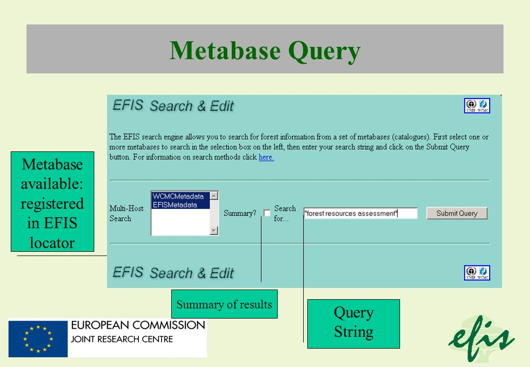 Metabase available: registered in EFIS locator Metabase Query Query String Summary of results