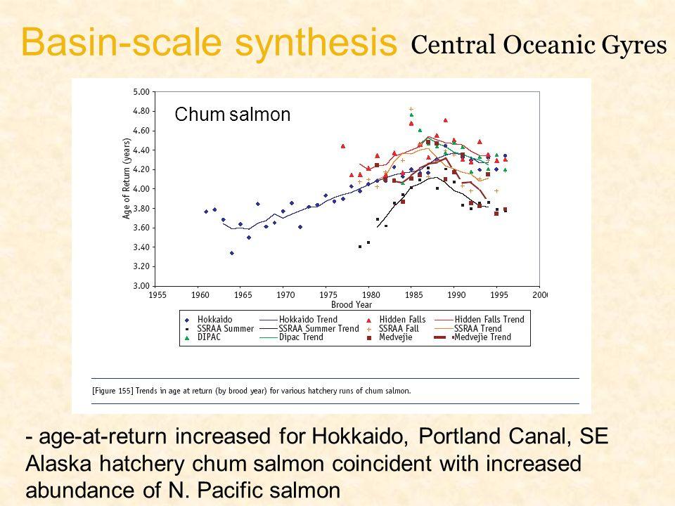 Basin-scale synthesis Central Oceanic Gyres - age-at-return increased for Hokkaido, Portland Canal, SE Alaska hatchery chum salmon coincident with increased abundance of N.