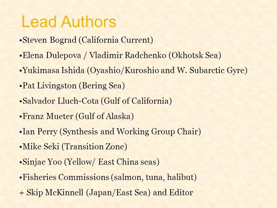 Lead Authors Steven Bograd (California Current) Elena Dulepova / Vladimir Radchenko (Okhotsk Sea) Yukimasa Ishida (Oyashio/Kuroshio and W.