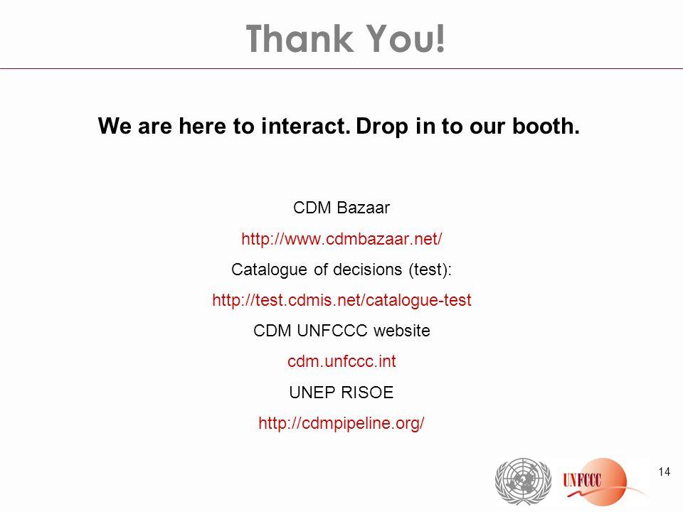 14 CDM Bazaar http://www.cdmbazaar.net/ Catalogue of decisions (test): http://test.cdmis.net/catalogue-test CDM UNFCCC website cdm.unfccc.int UNEP RIS