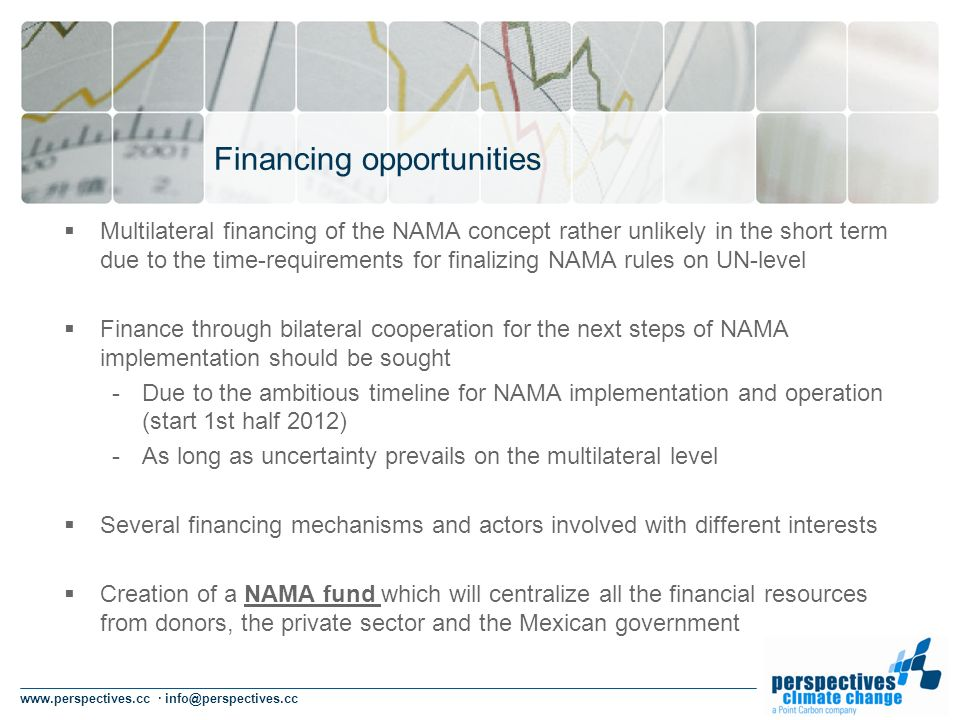 www.perspectives.cc · info@perspectives.cc Financing opportunities Multilateral financing of the NAMA concept rather unlikely in the short term due to the time-requirements for finalizing NAMA rules on UN-level Finance through bilateral cooperation for the next steps of NAMA implementation should be sought -Due to the ambitious timeline for NAMA implementation and operation (start 1st half 2012) -As long as uncertainty prevails on the multilateral level Several financing mechanisms and actors involved with different interests Creation of a NAMA fund which will centralize all the financial resources from donors, the private sector and the Mexican government