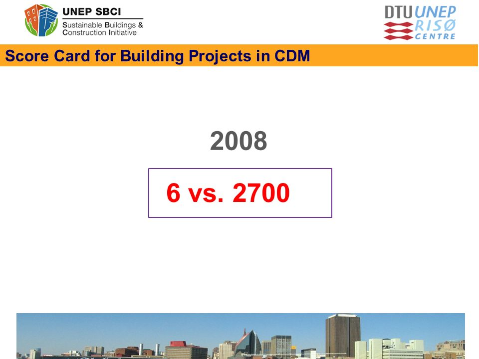 Score Card for Building Projects in CDM 6 vs. 2700 2008