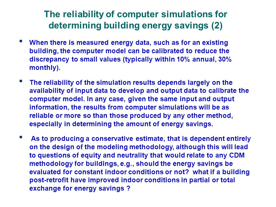 An example of using computer simulations to evaluate building energy performance in Tianjin (1) Monitoring and Evaluation of Building and Heating System Energy Performance of the Diliutianyuan Integrated Demonstration Subproject, Tianjin City, a research project sponsored by the World Bank 2007-2010 to evaluate the energy savings potentials for new residential buildings built according to Tianjins new 65% energy- saving building energy standard.