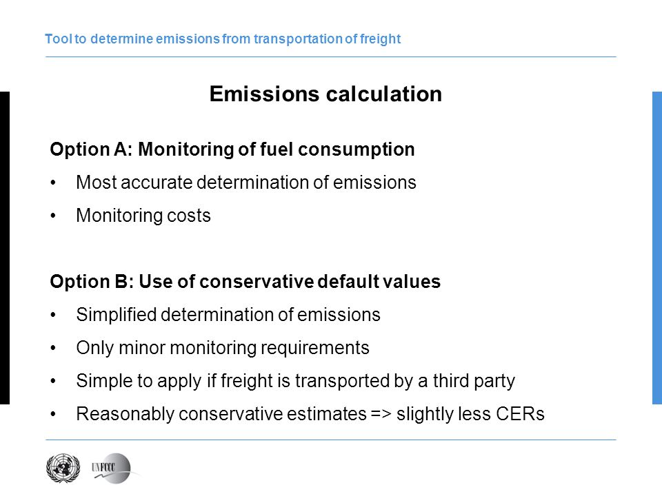 Tool to determine emissions from transportation of freight Application of conservative default values Default values are expressed in gram CO 2 per ton-kilometre PPs only need to know - the type and quantity of freight transported (e.g.