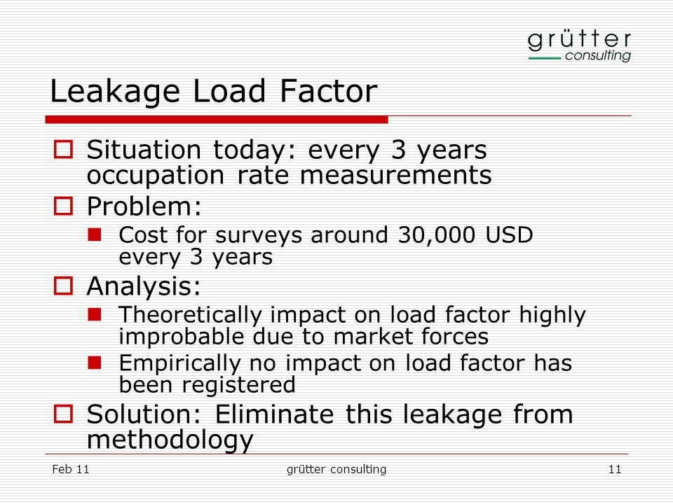 Feb 11grütter consulting11 Leakage Load Factor Situation today: every 3 years occupation rate measurements Problem: Cost for surveys around 30,000 USD