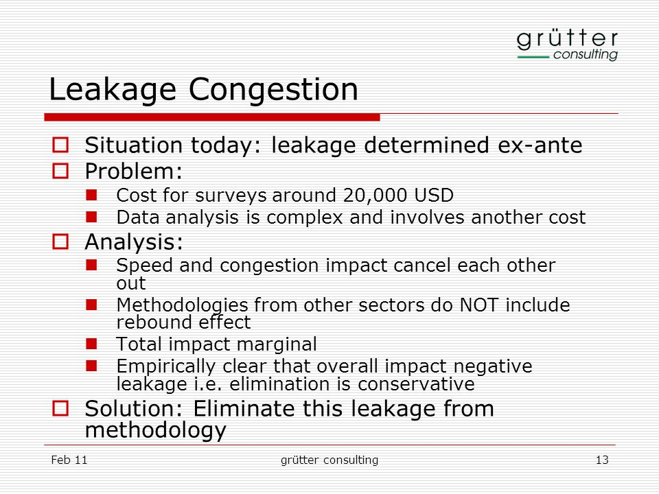 Feb 11grütter consulting13 Leakage Congestion Situation today: leakage determined ex-ante Problem: Cost for surveys around 20,000 USD Data analysis is