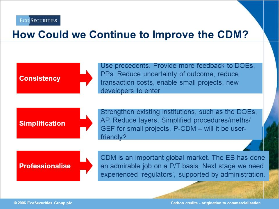 Carbon credits - origination to commercialisation© 2006 EcoSecurities Group plc How Could we Continue to Improve the CDM? Professionalise Simplificati