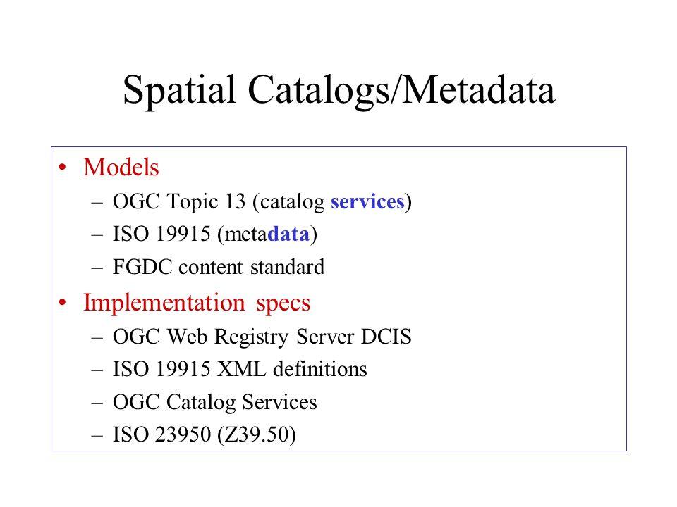 Spatial Catalogs/Metadata Models –OGC Topic 13 (catalog services) –ISO 19915 (metadata) –FGDC content standard Implementation specs –OGC Web Registry Server DCIS –ISO 19915 XML definitions –OGC Catalog Services –ISO 23950 (Z39.50)